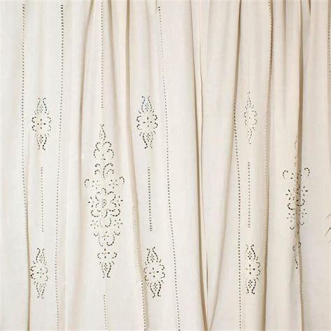 linen tab curtains tab top french country cotton linen crochet lace curtain