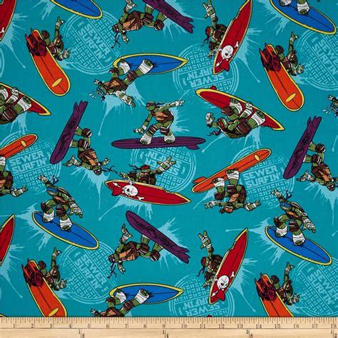 ninja pattern fabric teenage mutant ninja turtles sewer surfin turtle toss teal