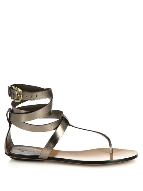 Sandal Wedges Jepit Gucci Jh87 20 gucci metallic leather sandals in silver gunmetal lyst
