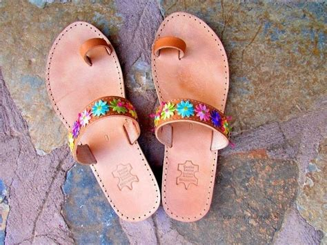 floral leather sandals     sandal flip flop