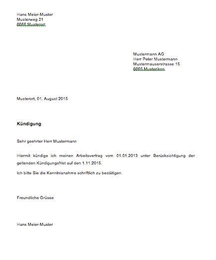 Schweiz Brief Format K 252 Ndigung Vorlage Arbeitsvertrag Schweiz Muster Und Vorlagen Kostenlos