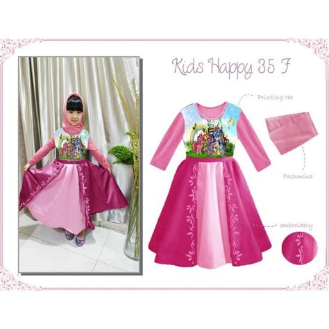 baju muslim gamis anak happy 35 f pony