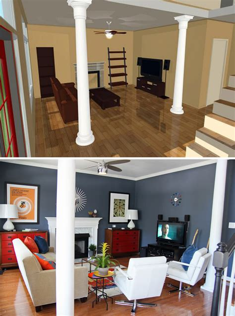 Home Interior Design Raleigh Nc by Sketch Up Before And After Mid Century Modern Living Room