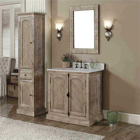 Bathroom Vanities With Matching Linen Tower Rustic Style Carrara White Marble Top 36 Inch Bathroom