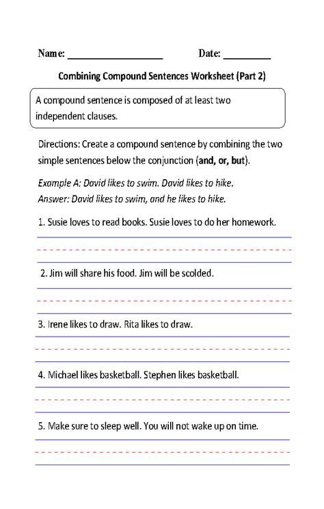 sentence pattern worksheet for grade 2 sentence combining worksheet lesupercoin printables