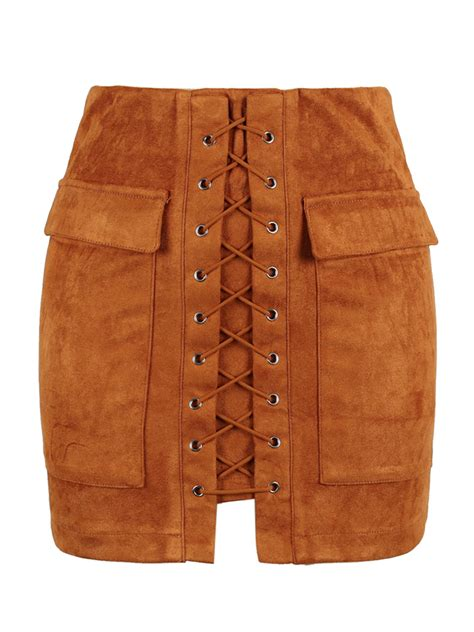 Up Front brown faux suede lace up front pencil mini skirt choies