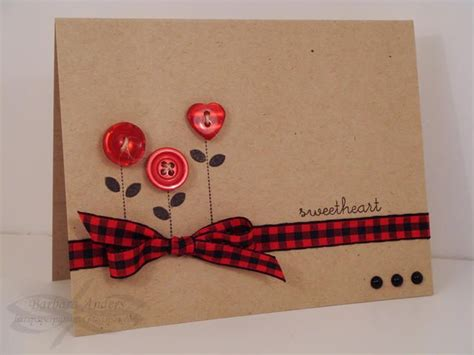 Handmade Cards Using Ribbon - another idea for using my bin o buttons scraps of