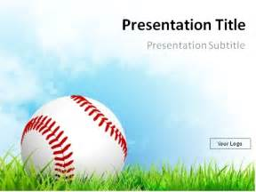 powerpoint templates baseball baseball on grass with blue sky powerpoint
