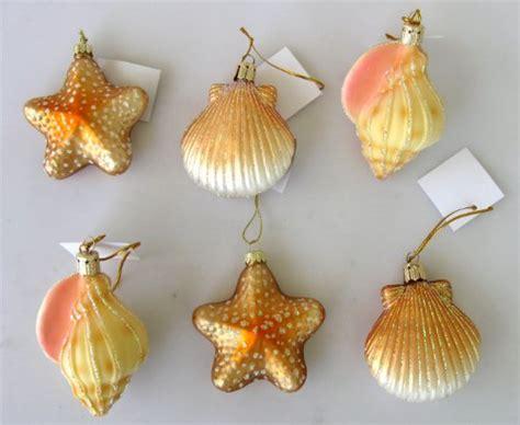 set of 6 blown glass seashell christmas ornaments shell