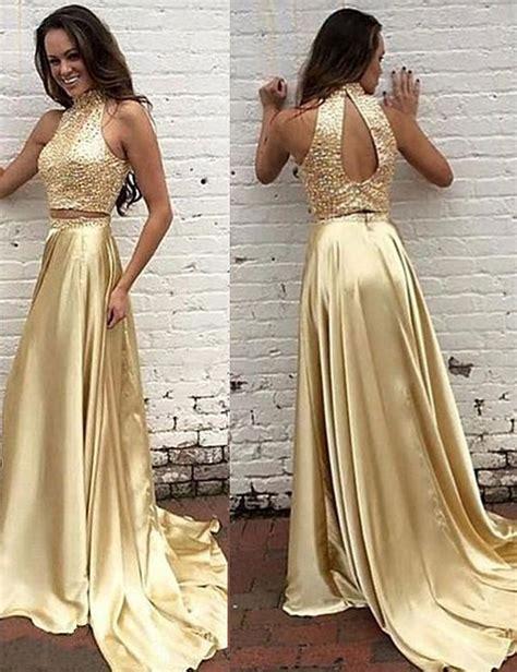 marvelous gold satin formal dresses showcases beaded bodice and open back