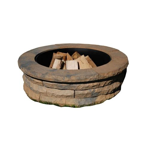 pit ring kit nantucket pavers ledgestone 47 in concrete pit ring kit variegated 72004 the home depot