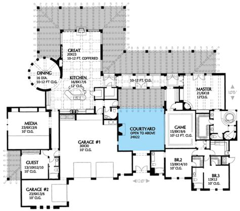hacienda floor plans with courtyard architectural designs
