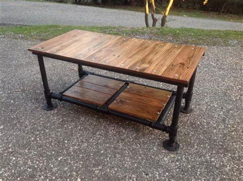 diy coffee table pipe legs diy pallet coffee table with pipe base 101 pallets