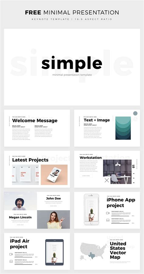 Free Simple Minimal Keynote Template On Behance Free Keynote Templates