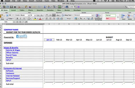 small business budget template excel business budget