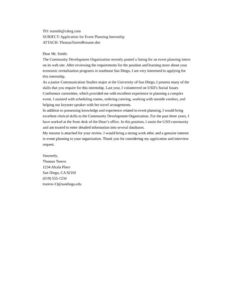 event planning intern cover letter sles and templates