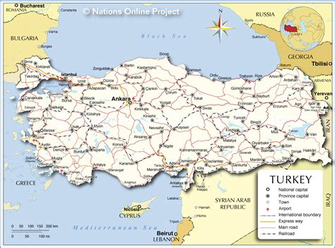 turkey on the map political map of turkey nations project