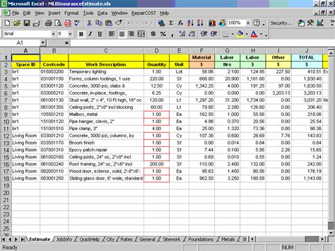 Insurance repair and restoration cost estimating software