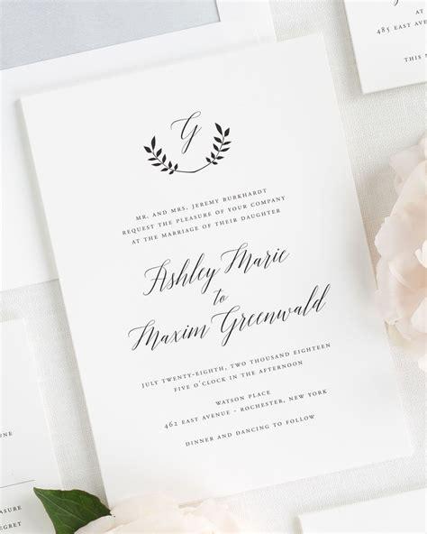 wedding invitations with monograms wreath monogram wedding invitations wedding invitations by shine