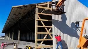 installing metal roof on pole barn how to run metal siding on a pole barn
