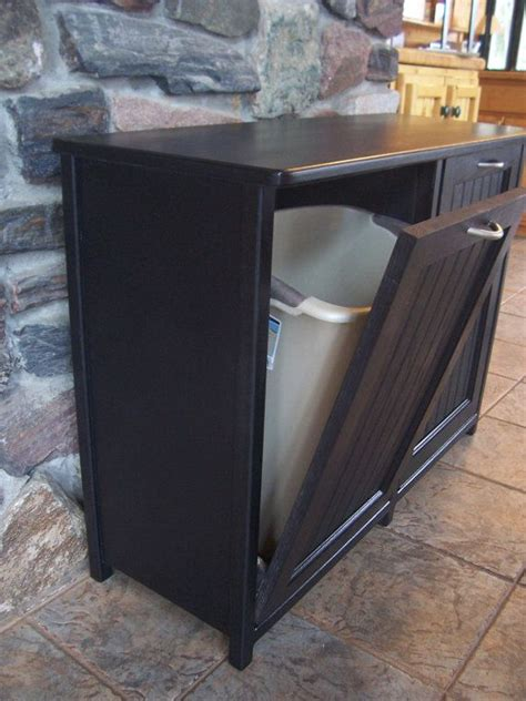 kitchen cabinet trash bin new black painted wood double trash bin cabinet garbage