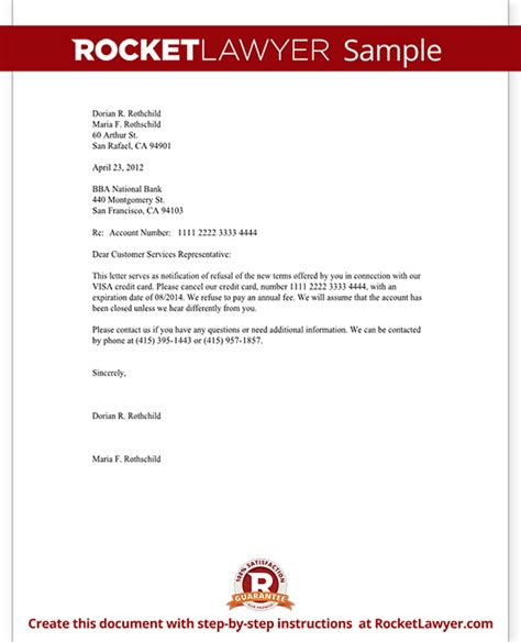Credit Letter Templates Uk Letter To Cancel A Credit Card Because Of Poor Terms Template With Sle