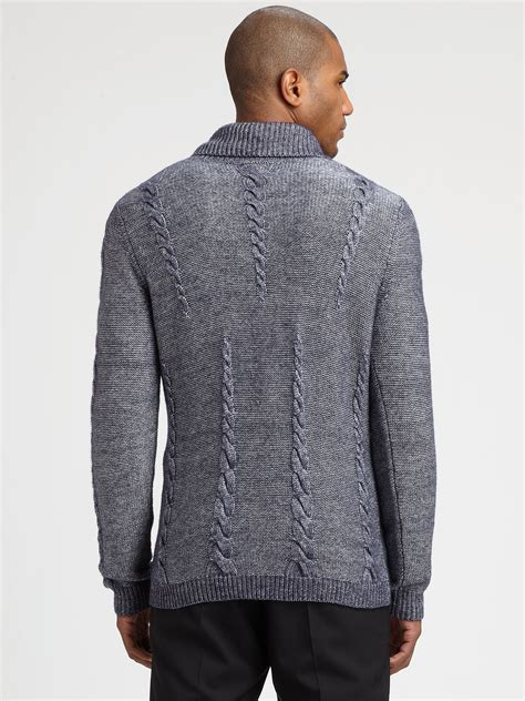 Sweater Machbet hugo shakespeare shawl collar sweater in blue for navy lyst