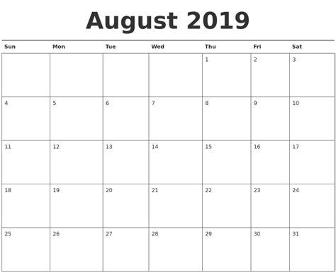 Calendar For 2019 August 2019 Calendar Printable