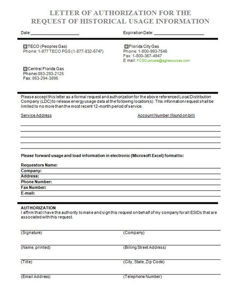 authorization letter electric bill florida gas letter of authorization form alternative