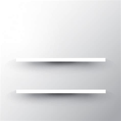 Two Shelves On A White Wall Background Vector Free Download White Shelves