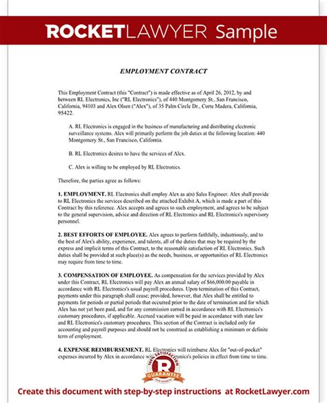 Employment Contract Template Employment Agreement At Will Employment Contract Template