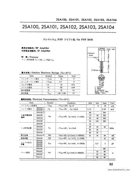 germanium transistor mouser 2sa102 datasheet pdf pinout 2sa100 2sa104 ge pnp drift