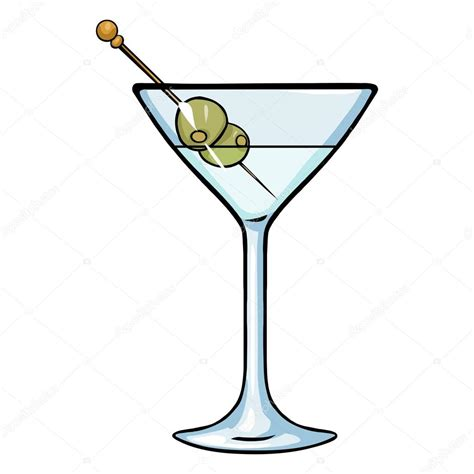 martini olives clipart cartoon martini glass with green olives stock vector