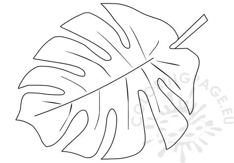 Tropical Leaves Coloring Pages | printable tropical leaf shape coloring page