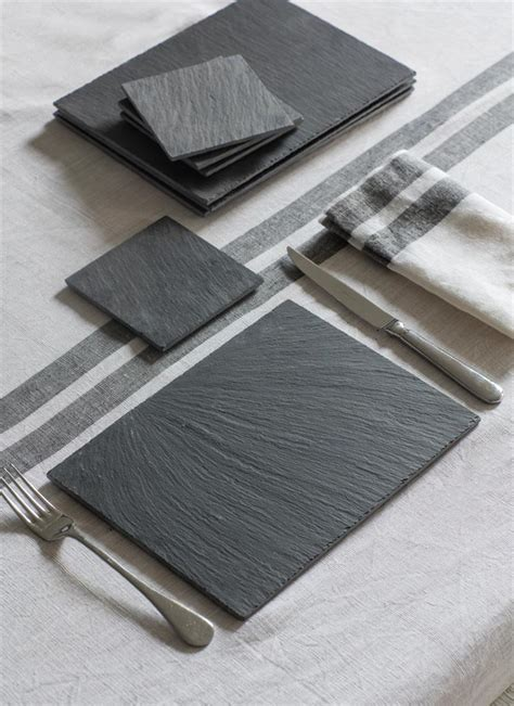 Slate Place Mats by Slate Placemats And Coaster Set By Garden Trading