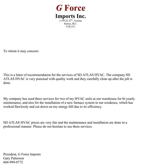 Service Letter To Whom It May Concern G Imports Hvac Technician Service Vancouver Langley Surrey Bc