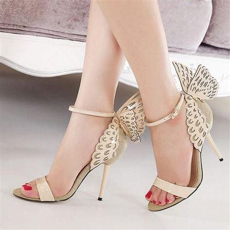 Sendal India Pakistan 2 beautiful wings design apricot high heels fashion sandals