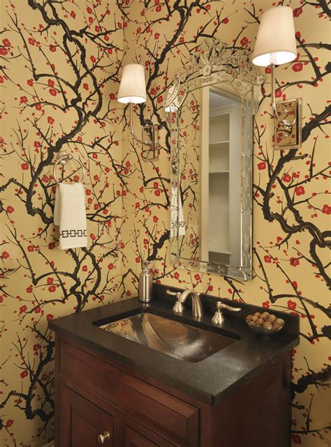 cherry blossom wallpaper bedroom modern with asian