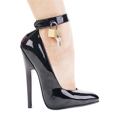 locked high heels high heel locking ankle cuff black 8267