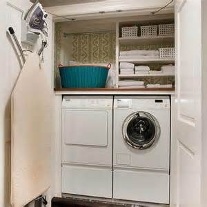 stacked washer and dryer in closet transitional