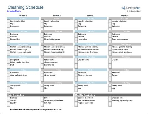 cleaning schedule template printable house cleaning