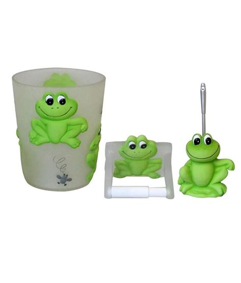 Frog Bathroom Set Buy Plumeria Green Frog Bathroom Set 3 Pcs At Low Price In India Snapdeal