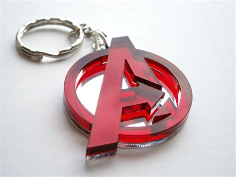 Chandelier Chains Avengers Keychain Laser Cut Red And Mirror Avengers Logo