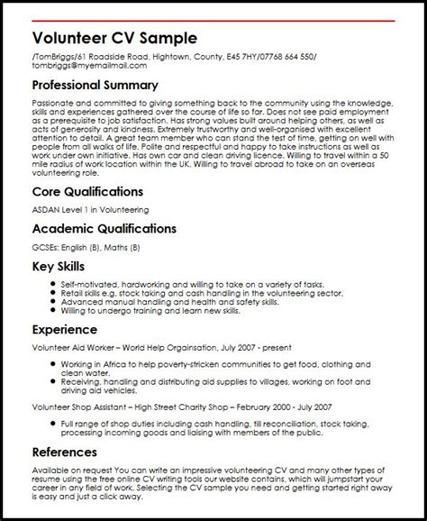 community volunteer resume exle volunteer cv sle myperfectcv