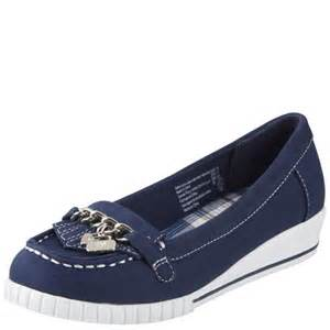 american eagle womens navy plaid boat shoe wedge size 13