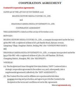 cooperation agreement sample cooperation agreement
