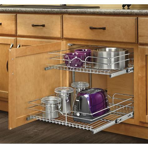 Kitchen Cabinet Organizers Pull Out Shelves Shop Rev A Shelf 20 75 In W X 19 In H Metal 2 Tier Pull Out Cabinet Basket At Lowes