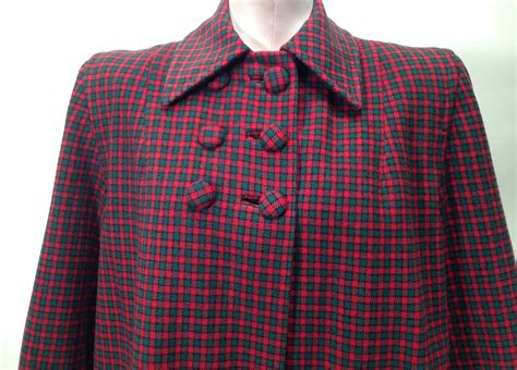plaid swing coat 1940 s swing coat in wool plaid shoulder pads cloth