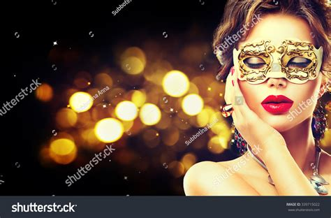 new year model model wearing venetian masquerade stock photo
