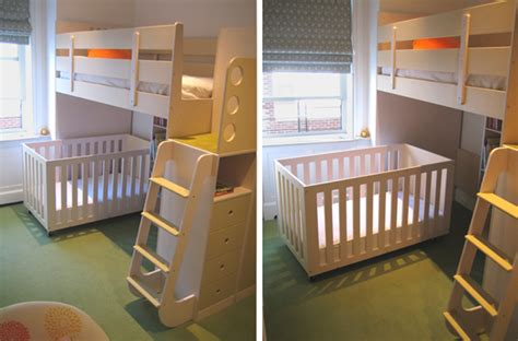 bunk bed with crib underneath a crib under a bunk bed